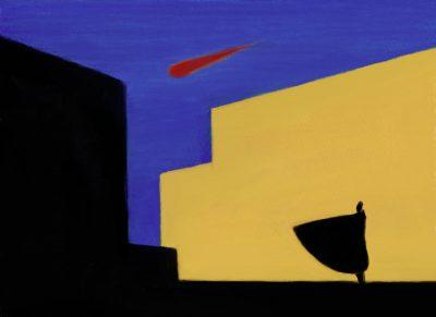 illustration miro mantle man falling star look watch red star asteroid ufo science fiction armageddon