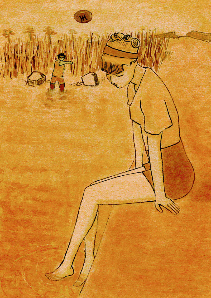 illustration ummo ummiti young girl lake joke stone throwing ufo orange young boy love