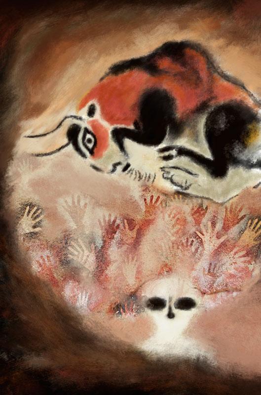 illustration lascaux bull prehistoric painting hands alien science fiction cavern cave