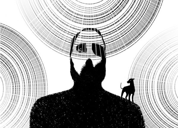 illustration walking light portrait dog black and white look up cercle