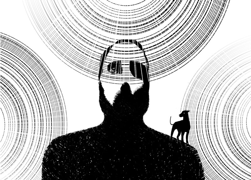 illustration walking light portrait dog black and white look up cercle