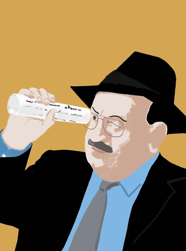 illustration umberto eco philosopher look paper hat suit tie