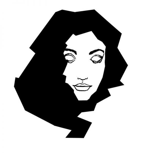 illustration girl portrait black and white